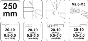 Cleste Sertizat Conectori YATO, Lama 4mm, 250mm2