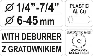 Cleste Taietor Tevi YATO, 1/4-7/4, 6 - 45mm2