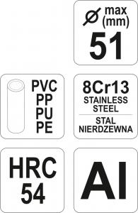 Cleste Taietor Tevi YATO, PVC/PP, 51mm4