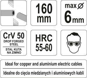 Cleste Taietor YATO, Pentru Cabluri Electrice, CR-V, 160mm2