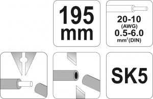 Decablator YATO, Automat, 195mm, 0.5-6mm2