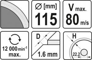 Disc Diamantat YATO, Turbo, Ultra-Subtire, 115mm [2]