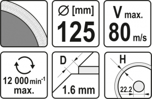 Disc diamantat YATO, turbo, ultra-subtire, 125mm2