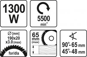 Fierastrau circular YATO, 1300W, 190mm6