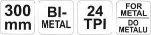 Fierastrau Pentru Metal YATO, 24TPI, 300mm2