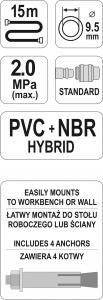 Furtun de aer comprimat YATO, HYBRID AIR, 9.5mm, 15m, 20bar4