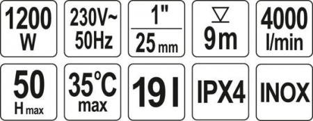 Hidrofor YATO, Inox, 1200W, 4000 l/h [2]