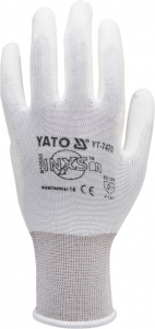 Manusi protectie YATO, nylon/PU, marimea 10, alb [1]
