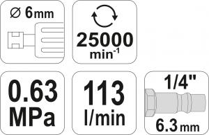 Masina de Polizat Pneumatica YATO, 6.3 Bar, 1/4 inch4