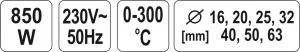 Masina de sudat termoplastice YATO, 0-300 °C,  850W3