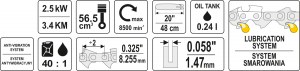 Motofierastrau pe Benzina YATO, 2.5kW, 3.4Cp, 48cm3