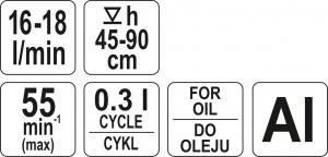 Pompa Manuala YATO, Pentru Ulei, 16 - 18l/min2
