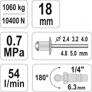 Presa Pneumatica YATO, Pentru Nituit, 2.4 - 5mm, 1060kg4