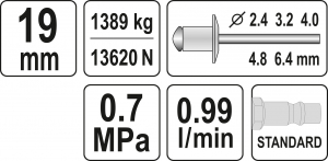 Presa Pneumatica YATO, Pentru Nituit, 2.4 - 6.4mm, 1389kg2