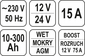 Redresor Auto YATO, 12/24V, 15A, 300Ah3