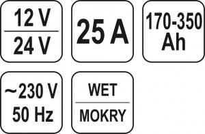 Redresor Auto YATO, 12/24V, 25A, 350Ah2