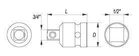Reductie YATO, De Impact, CR-Mo, 1/2 la 3/4 Inch [1]