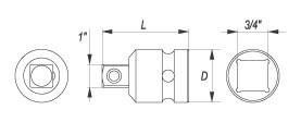 Reductie YATO, De Impact, CR-Mo, 3/4 la 1 Inch [1]