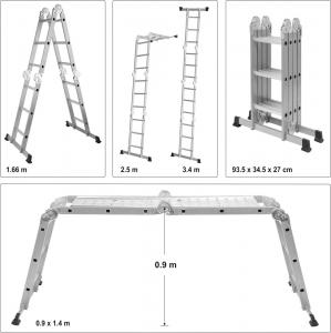 Scara multifunctionala VOREL, otel/aluminiu, 3.4m, 4X3 trepte6