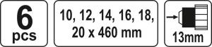Set burghie elicoidale YATO, pentru lemn, 10-20mm, 460mm, 6buc2