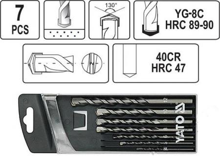 Set Burghie Pentru Beton YATO, Cilindrice, 4 - 12mm, 7buc [2]