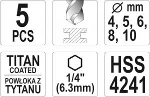 Set burghie YATO, pentru metal, HSS-titan, 1/4, 5buc2