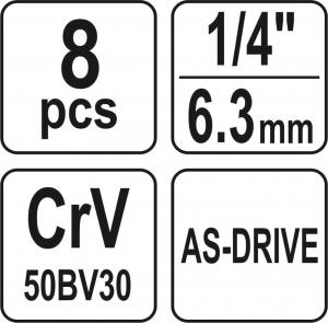 Set Chei Tubulare YATO, CR-V, 1/4 inch, 8 buc2