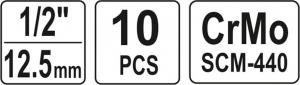 Set Chei Tubulare YATO, de Impact, 10 - 22mm, 1/2 Inch, 10buc [4]