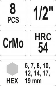 Set Chei Tubulare YATO, De Impact, Hex, 6 - 19mm, CR-Mo, 1/2 Inch, 8buc2