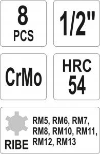 Set Chei Tubulare YATO, De Impact, RIBE, RM5-RM13, CR-Mo, 1/2 Inch, 8buc2