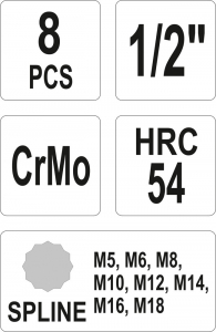 Set Chei Tubulare YATO, De Impact, SPLINE, M5-M18, CR-Mo, 1/2 Inch, 8buc2
