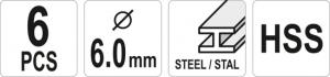 Set freze metal YATO, HSS, 6mm, 6buc [3]