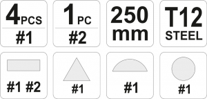 Set Pile Lacatuserie YATO, 250mm, 5 buc [2]