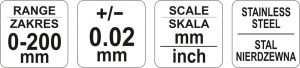 Subler Inox YATO, 200mm, Precizie 0.02mm4