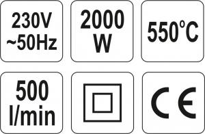 Suflanta aer cald YATO, accesorii, 2000W3