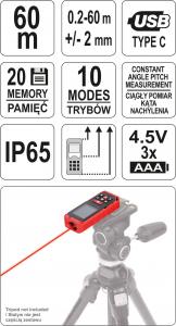 Telemetru cu Laser YATO, 0.2 - 60m5