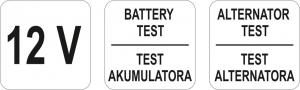 Tester YATO, Pentru Acumulatori si Alternator, Digital, 12V2