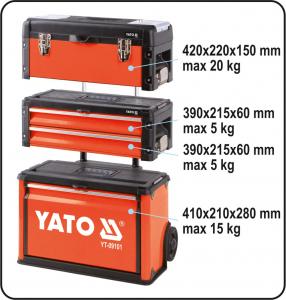 Troler Pentru Scule YATO, Capacitate 45kg, 520 X 320 X 720mm2