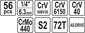 Trusa Chei Tubulare si Biti YATO, CR-V, 1/4 inch, 56 buc5