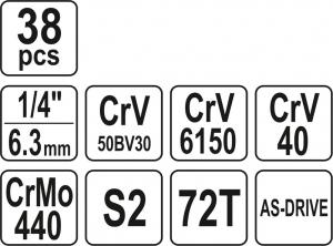 Trusa Chei Tubulare YATO, Antrenor cu Clichet, CR-V, 1/4 inch, 38 buc5