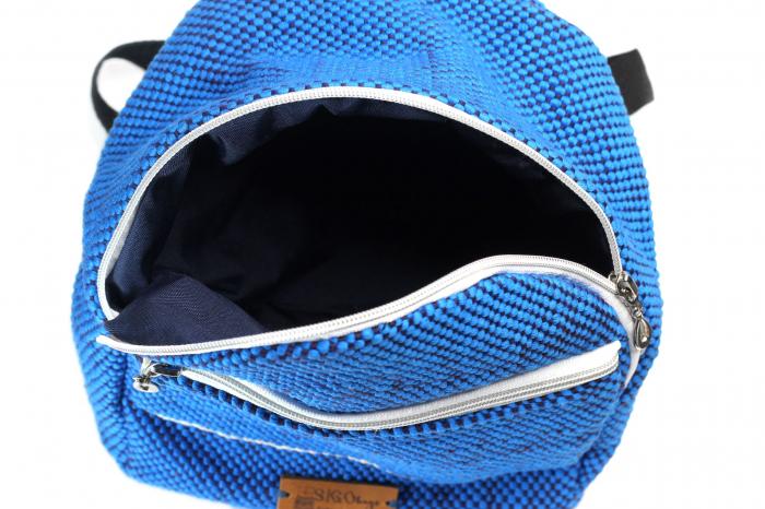 Rucsac de umar handmade tesut manual la razboiul de tesut, albastru [5]