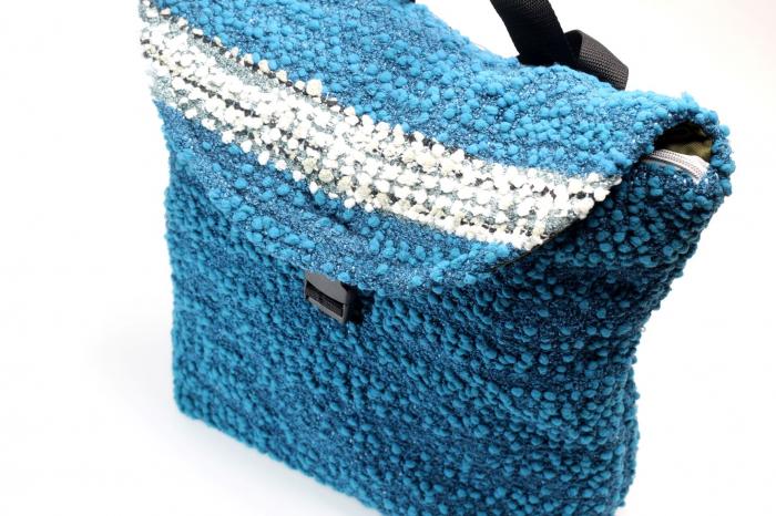 Rucsac de umar handmade tesut manual la razboiul de tesut, albastru [3]