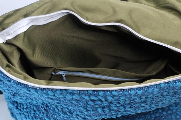 Rucsac de umar handmade tesut manual la razboiul de tesut, albastru [4]