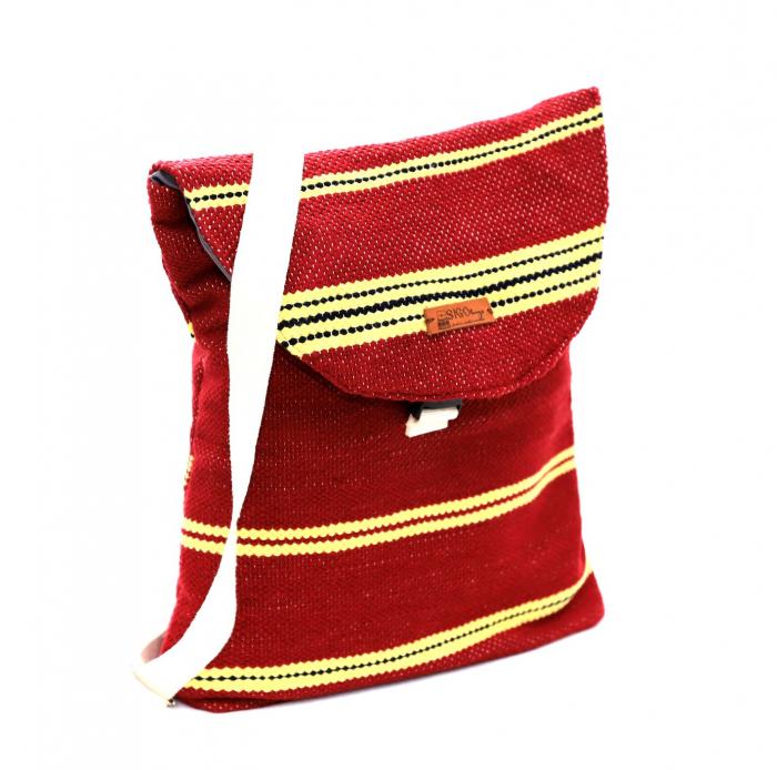 Rucsac de umar handmade tesut manual la razboiul de tesut, visiniu [0]