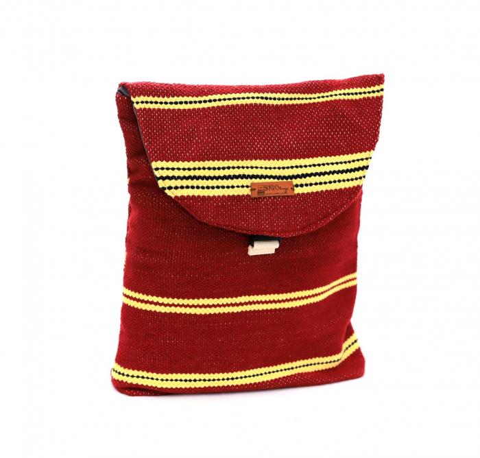 Rucsac de umar handmade tesut manual la razboiul de tesut, visiniu [2]