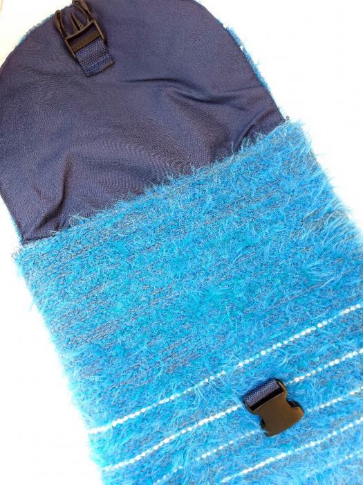 Rucsac de umar handmade tesut manual la razboiul de tesut, turcoaz [2]