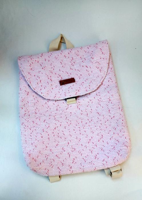 Rucsac de umar handmade tesut manual la razboiul de tesut, roz [3]