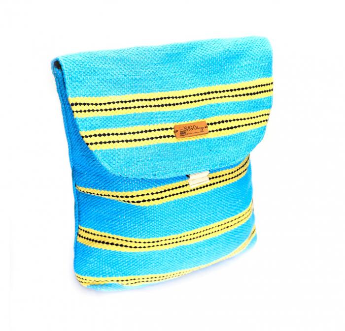 Rucsac de umar handmade tesut manual la razboiul de tesut, turcoaz [0]