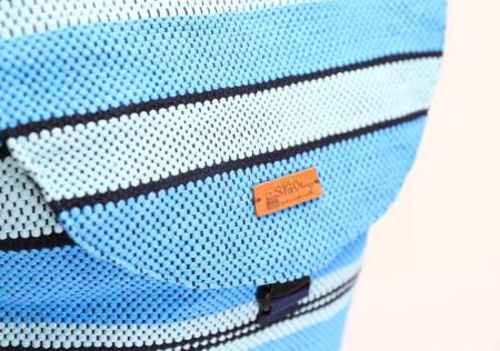 Rucsac de umar handmade tesut manual la razboiul de tesut, turcoaz [4]