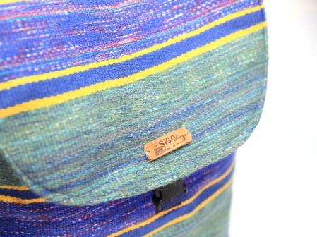 Rucsac de umar handmade tesut manual la razboiul de tesut, verde [3]